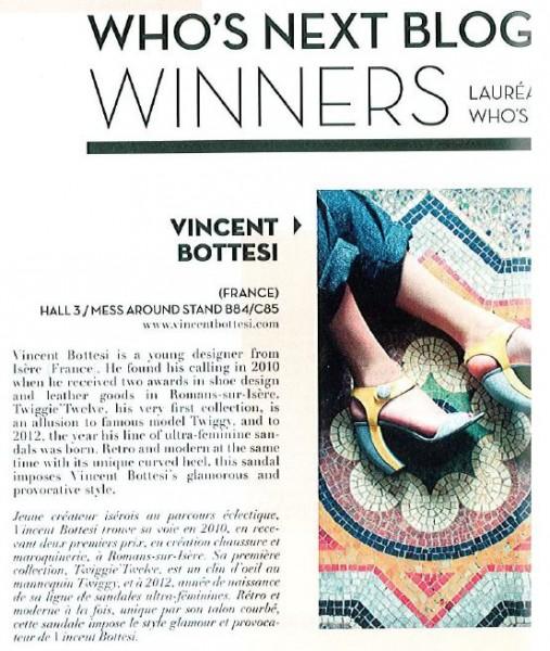 Who's Next, Vincent Bottesi lauréat du concours jeune créateur